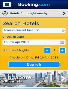 booking.com mobile app designs