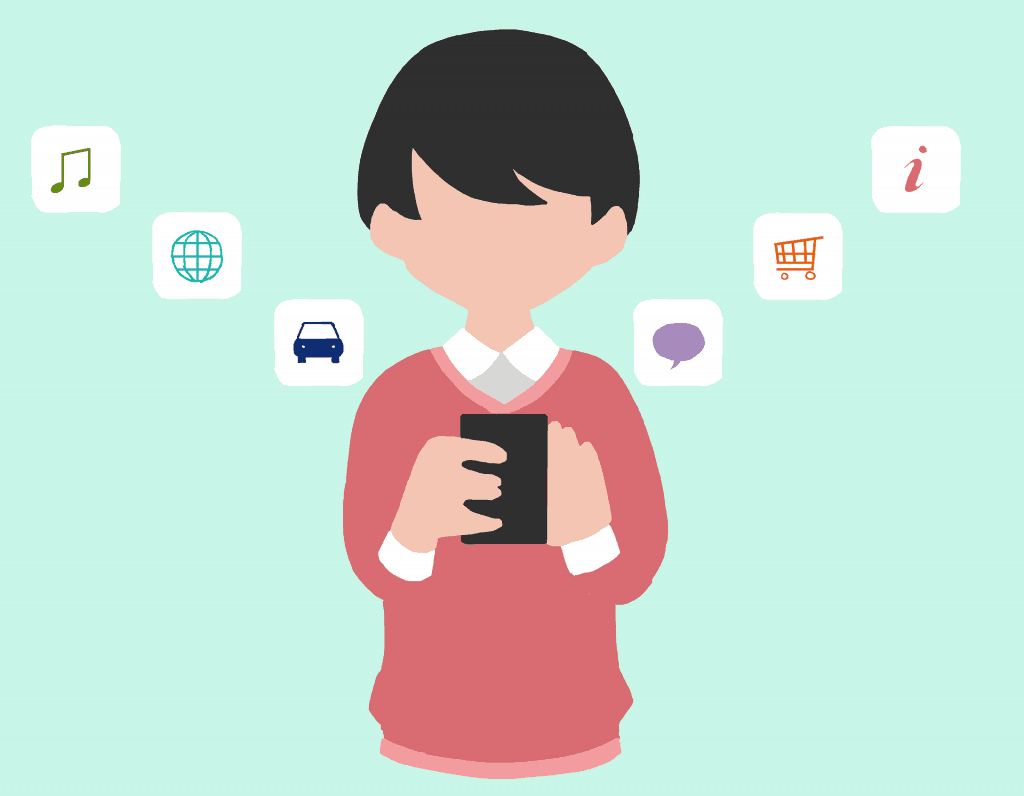 mobile app holding phone